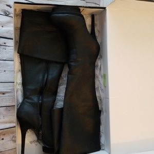 Black leather over the knee platform boots